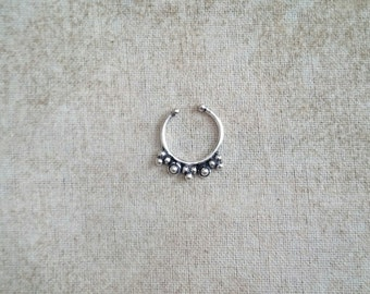 HANDMADE silver nose septum Piercing FAKE