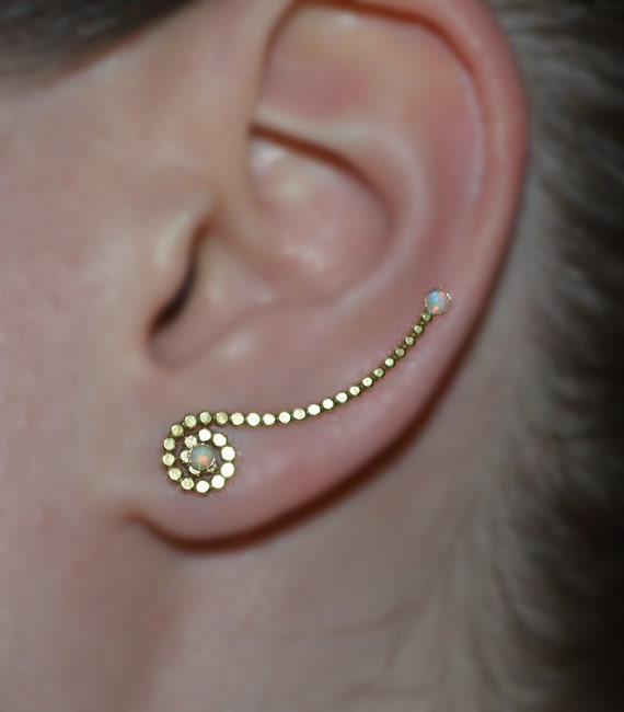earrings that go up the earlobe white opal ear climber earrings 14k gold filled ear pins 6019
