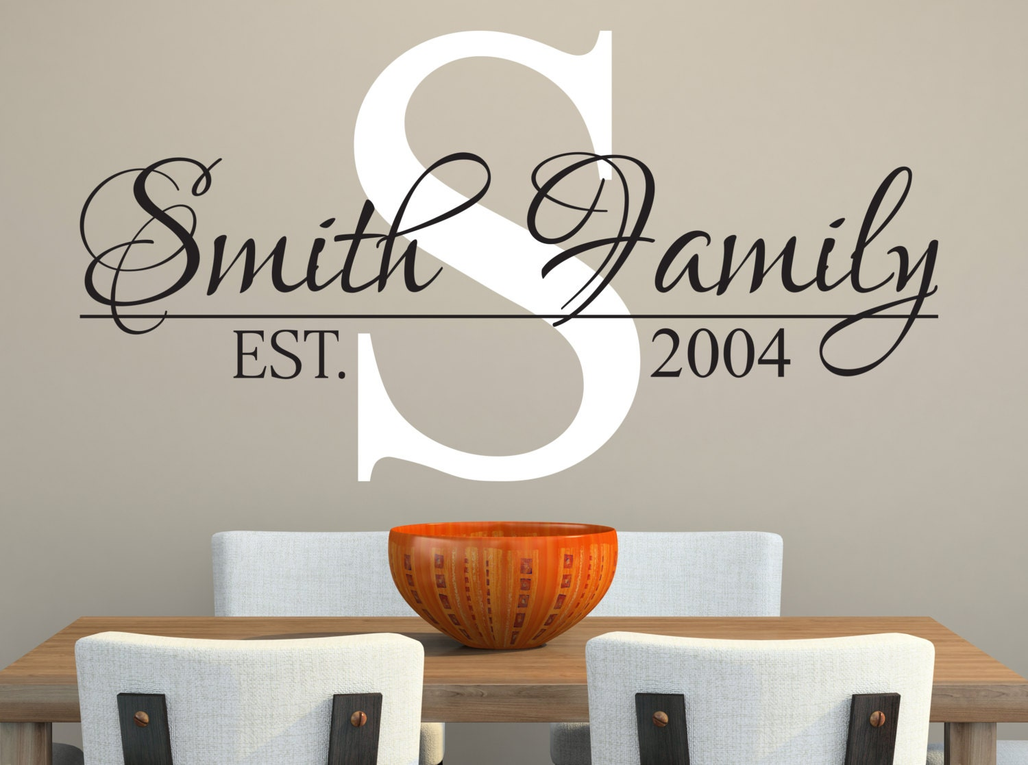 Wall Art Decals Custom : Family name wall decal custom living room decor
