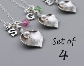 Bridesmaid Necklaces Set, Calla Lily Necklaces, Personalized Pearl Necklaces, Set Of 4, Initial And Birthstone, Silver Calla Lily Jewelry