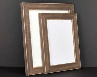 Brown Picture Frame - Rustic Reclaimed Distressed Barn Wood Style - All Wood - Choose your size - Custom Sizes Available