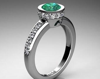 Classic 950 Platinum 1 Carat Emerald Diamond Solitaire Engagement Ring R1011-PLATDEM