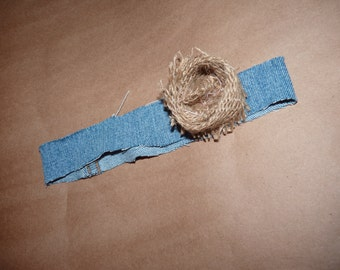 0-3m Denim/burlap flower Headband