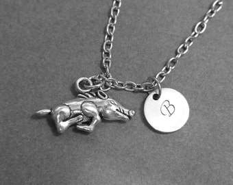 personalized initial, initial necklace, boar necklace,boar charm necklace, silver boar charm, custom necklace, charm necklace
