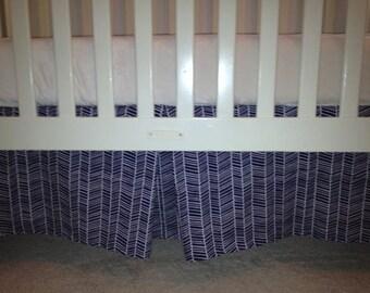 Navy Herringbone Crib Skirt with Pleat