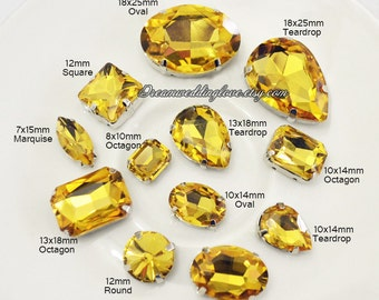 Citrine yellow Glass Rhinestones beads --15pcs Amber Teardrop Oval Octagon Marquise Sew on loose Rhinestones silver settings Vintage Crystal