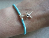 Sterling Silver Starfish Charm Bracelet with turquoise beads, surf, beach jewellery