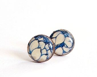 Tiny Stud Earrings, Vintage English Porcelain Earrings, Blue Flower Earrings, Floral Earrings