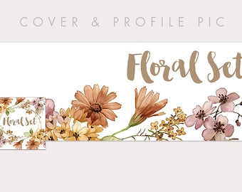 Floral Wood Timeline Cover + Profile Picture | Floral Set | Cover, Profile Picture, Branding, Blog Banner, Website Banner