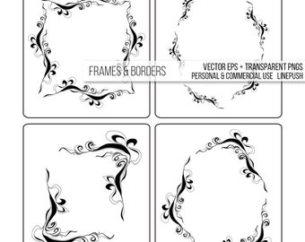 Sale! Frames and borders in vector eps + transparent pngs. Flourishes, wedding card design, invitation borders, fairytale design, gothic