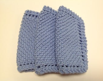 Set of Three Knitted Baby Washcloths in Blue 100% Cotton Yarn