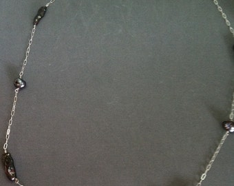Biwa Pearl, Keisha Pearl, and Sterling Silver Necklace