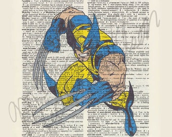 Marvel Comics X-Men Wolverine on dictionary page print