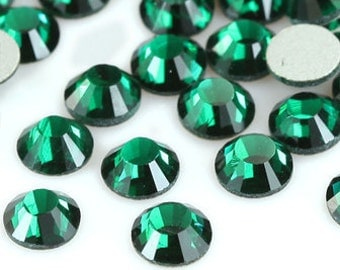 144pcs Bling High Quality Wholesale Pack Silver Back FlatBack Crystals Glass Rhinestones Gems Size ss6 ss8 ss10 ss12 ss16 ss20-Green