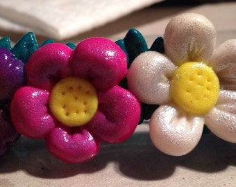 Ponytail holders in Fimo-spring