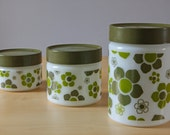 Anchor Hocking Fire king milk glass green floral cannisters