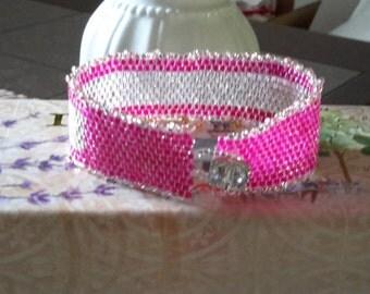 Fuchsia peyote bracelet