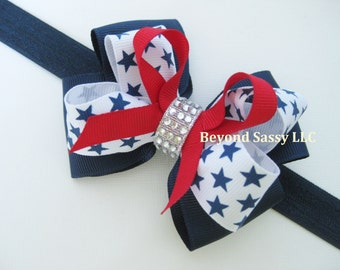 July 4th Patriotic Red Navy Star Rhinestone Hair Bow Clip Headband