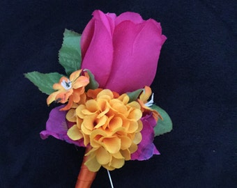 Tropical Fuchsia Rose Flower Boutonniere Wedding Prom Groomsmen