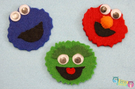 elmo cookie monster and oscar magnets