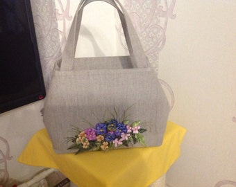 100% Linen 'Pansies' Hand Bag