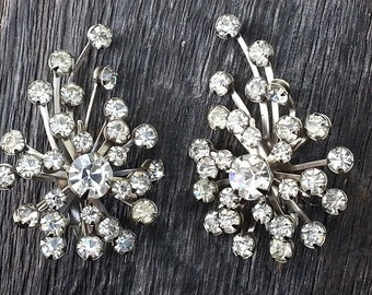 Vintage Tara Atomic Intrigue Collection Riveted Clip on Rhinestone Spray Earrings