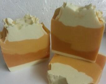 Handmade Orange Sherbet Soaps.