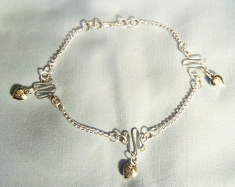 Waves and hearts Ankle Bracelet