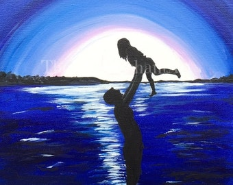 The Perfect Evening - Gilcee Print - acrylic painting, daddy and daughter, lake, moonlight, evening, father's day gift, father and daughter,