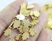 100 Pcs Gold Plated Hamsa Orientalist Charms, Hamsa Bracelet and Necklace Findings, 13 mm Tiny Hamsa Charms