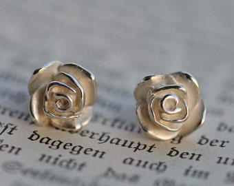 Rose solid 925 Silver Earring pair