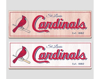 "St Louis Cardinals Wood sign - 7"" x 22"" - Cardinals fan wall hanging - Boys room Man cave Sports Bar decor - Fathers Day gift for Dad"