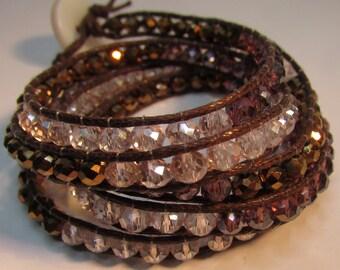 Crystal Beads Leather Wrap Bracelets