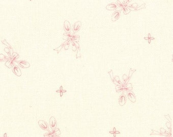 SALE - 1/2 Yard - Silver Spoon Cream & Pink - Ooh La La by Bunny Hill Designs for Moda Fabrics -  2834 12
