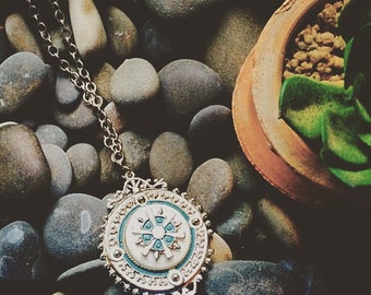 Blue and Silver Medallion Pendant