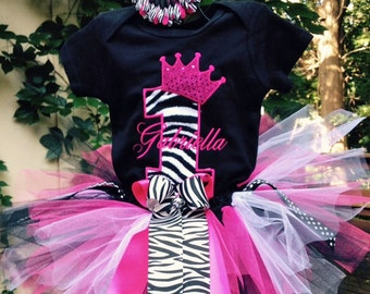 Pink and Zebra Princess Crown 1st Birthday Girl Outfit Personalized Onesie Princess Birthday Outfit Princess 1st Birthday Shirt