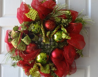 "24"" Christmas Deco Mesh Wreath"