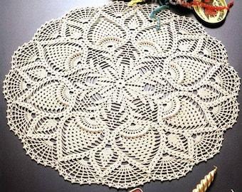 Openwork crochet handmade doily.