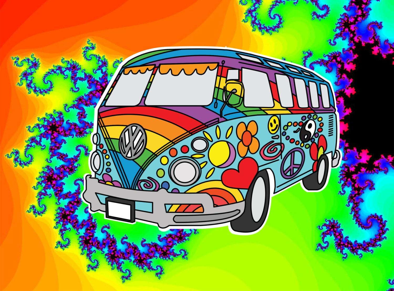 Hippy Van Wallpaper >> Colorful VW Hippie BusStickerCustom StickerCustom DecalVW
