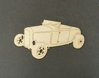 HOT ROD Car Wall Art(Birch Wood)