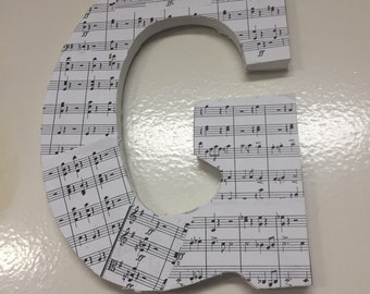 Custom Wooden Letter in Sheet Music