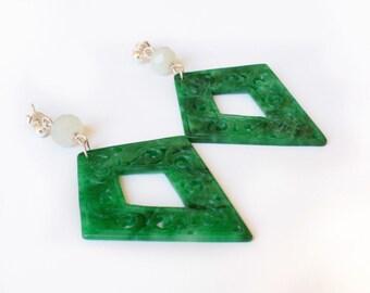 Earrings in jade, Jadeite and Silver 925