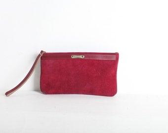 Vintage Maroon Leather Clutch Purse