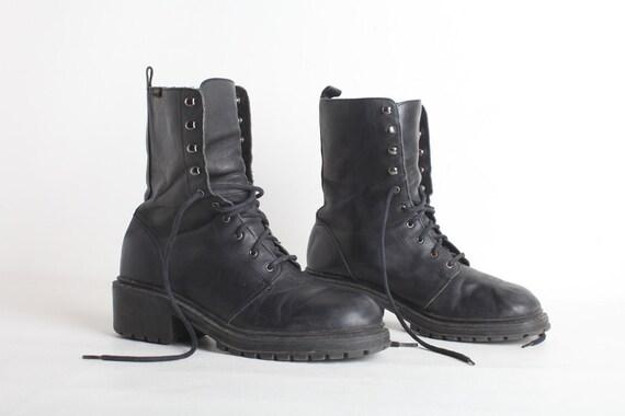Amazing Flat Black Boots For Women Leather Combat Boots Women Shoes Mod