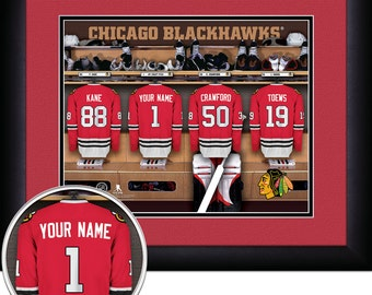 Locker Room Print -NHL-Chicago Blackhawks-Personalized!! MATTED and FRAMED