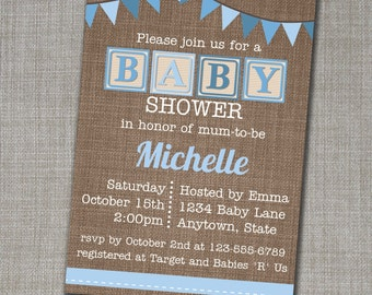 Baby Shower Invitation - Baby Shower Invite - Blue Baby Shower Invite - Edit yourself at home!
