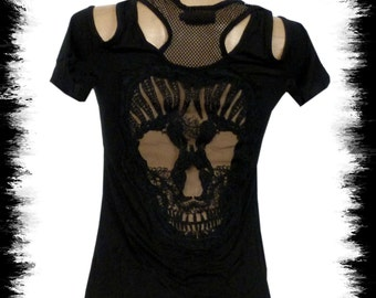 Gothic Ladies t shirt skull