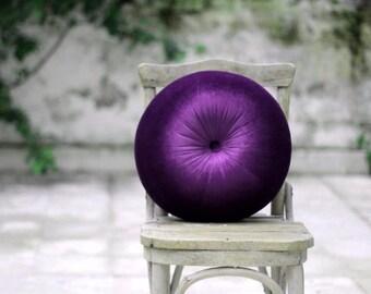 "Holiday Pillow Purple velvet round pillow 16"""