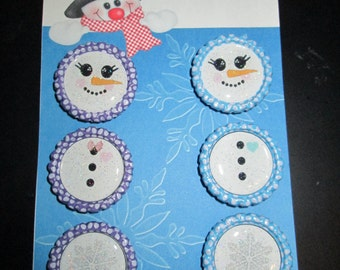 Snowman Bottle Cap Magnets