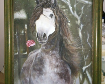 Beautiful horse oil painting